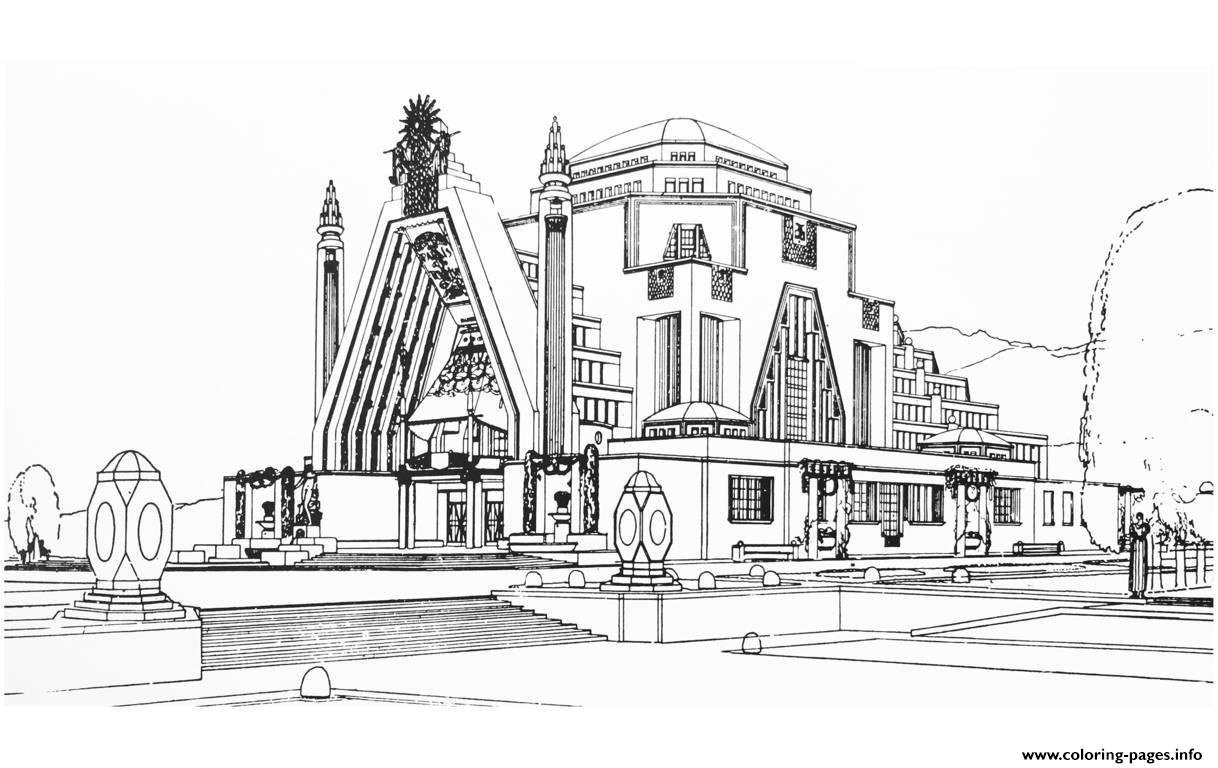 Adult Drawing Monument Art Deco France Coloring Pages