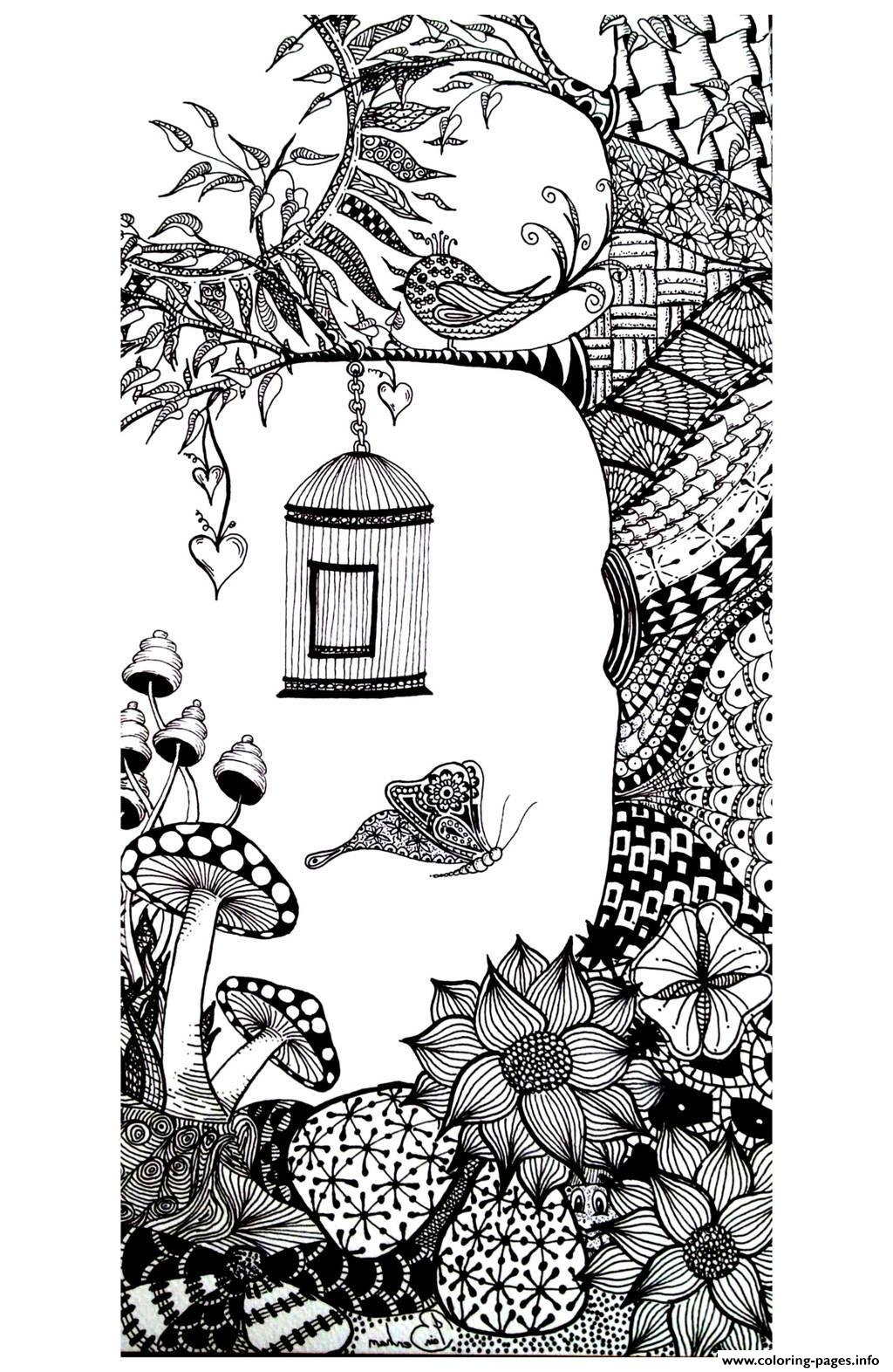 Adult Animals Bird Butterfly Coloring Pages Printable | free online coloring pages for adults animals