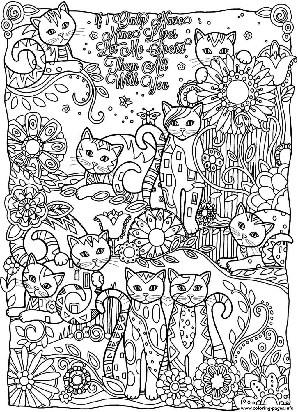 Adult Cats Cutes Coloring Pages Printable