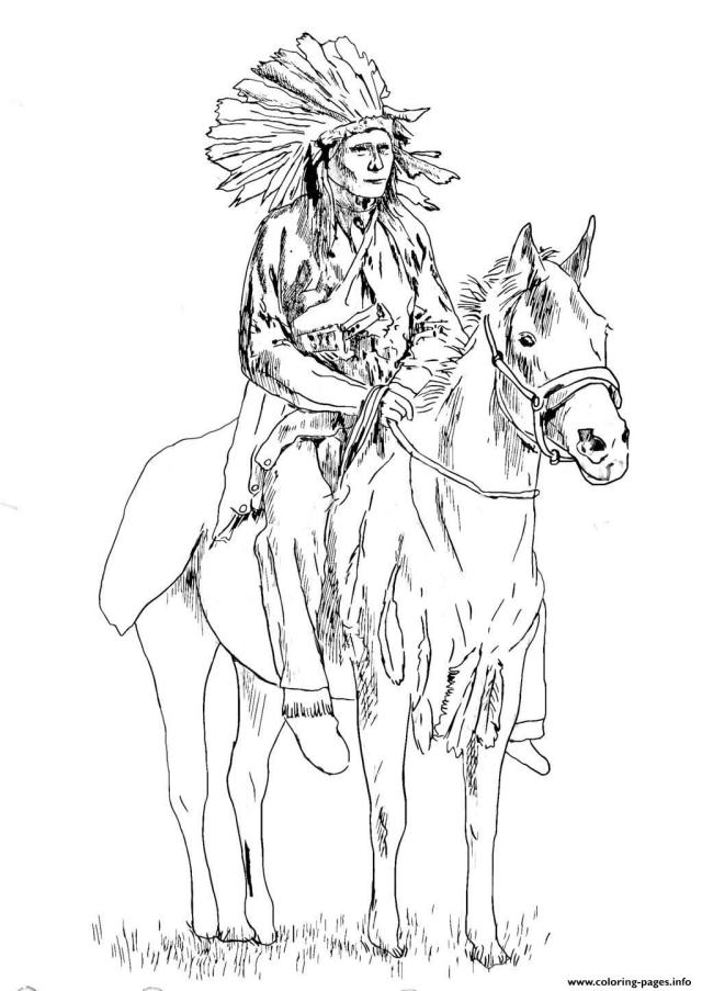 Adult Native American On His Horse Coloring Pages Printable
