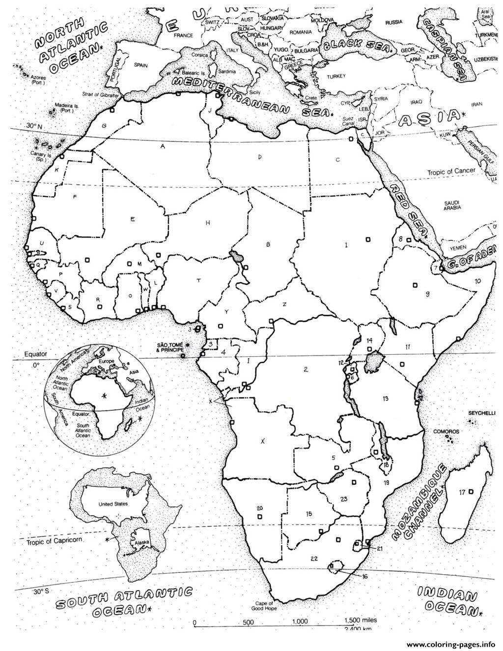 Adult Africa Map Coloring Pages Printable