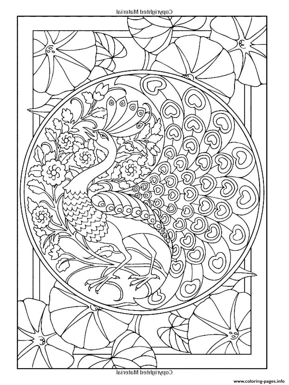 Adult Art Nouveau Style Peacock Coloring Pages Printable
