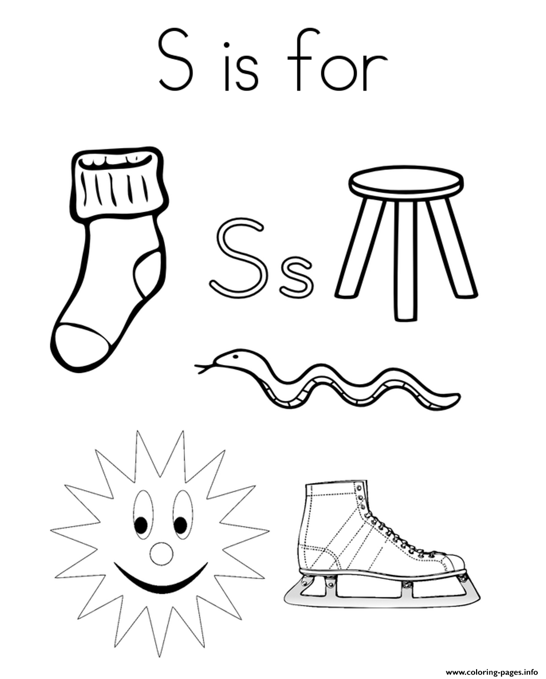 Words From S Alphabet 5dc1 Coloring Pages Printable