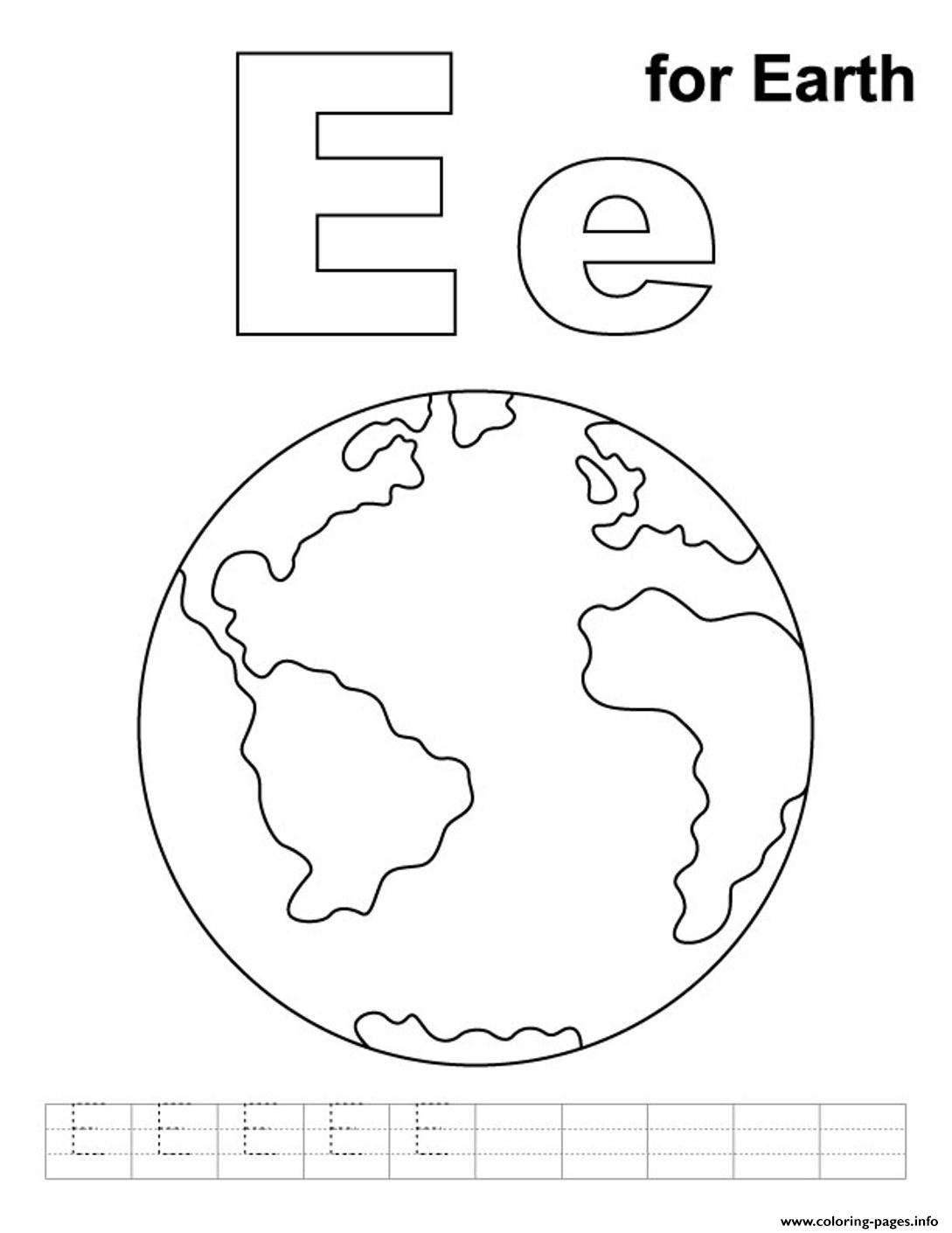 Alphabet S Free E For Earth Coloring Pages Printable