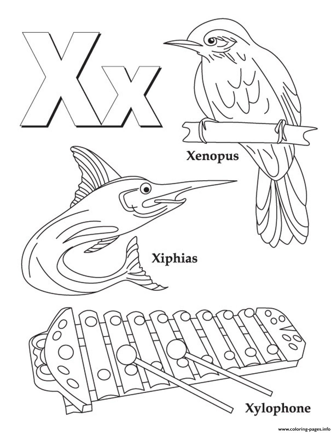 Words Of X Alphabet Sc582 Coloring Pages Printable