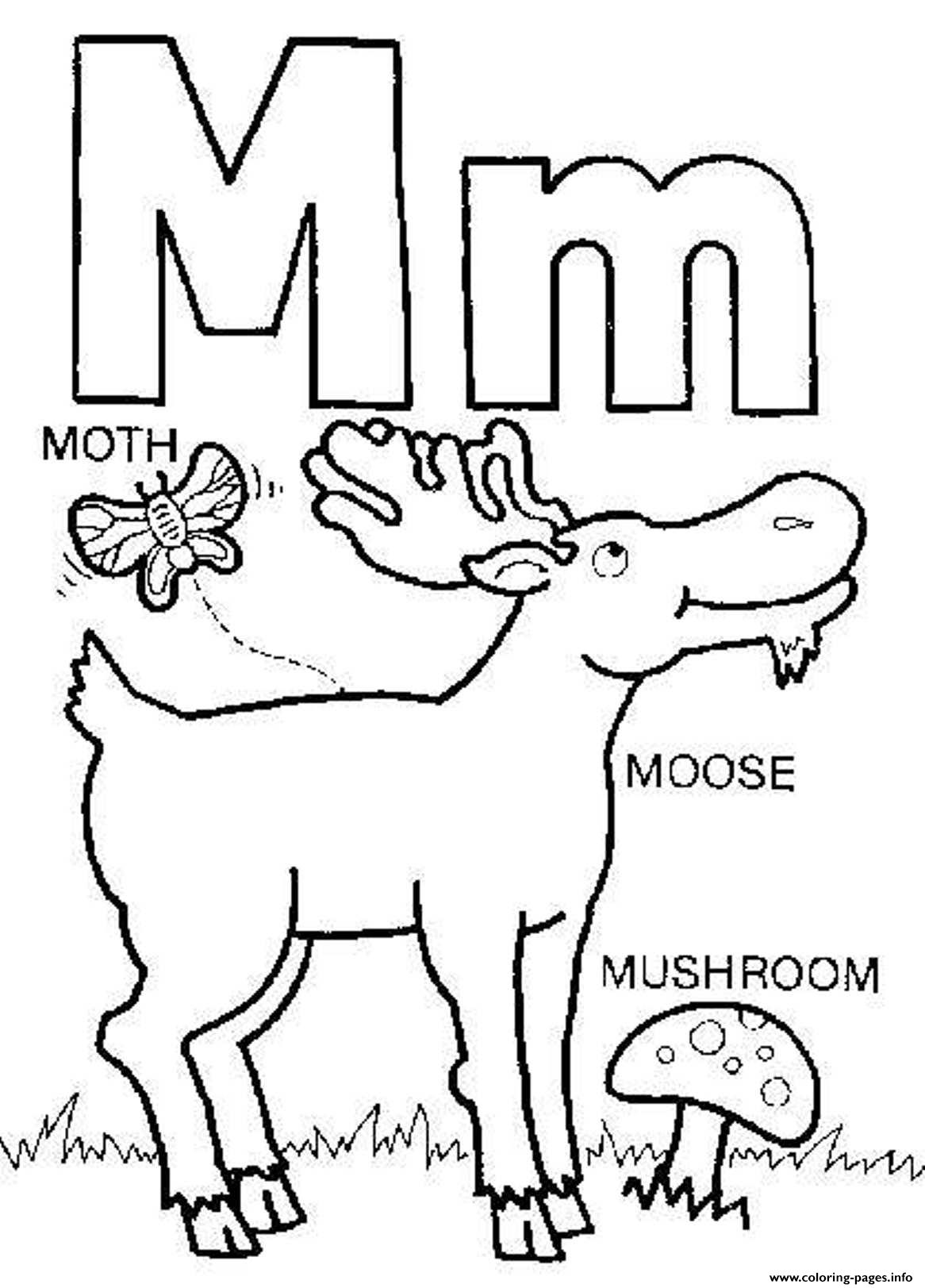 M Words Free Alphabet S70ac Coloring Pages Printable