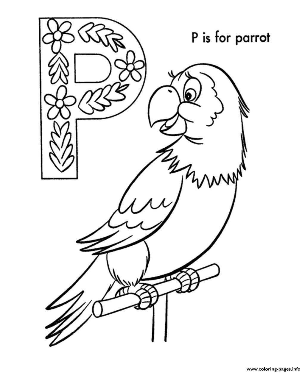 Alphabet Parrot Bird B870 Coloring Pages Printable