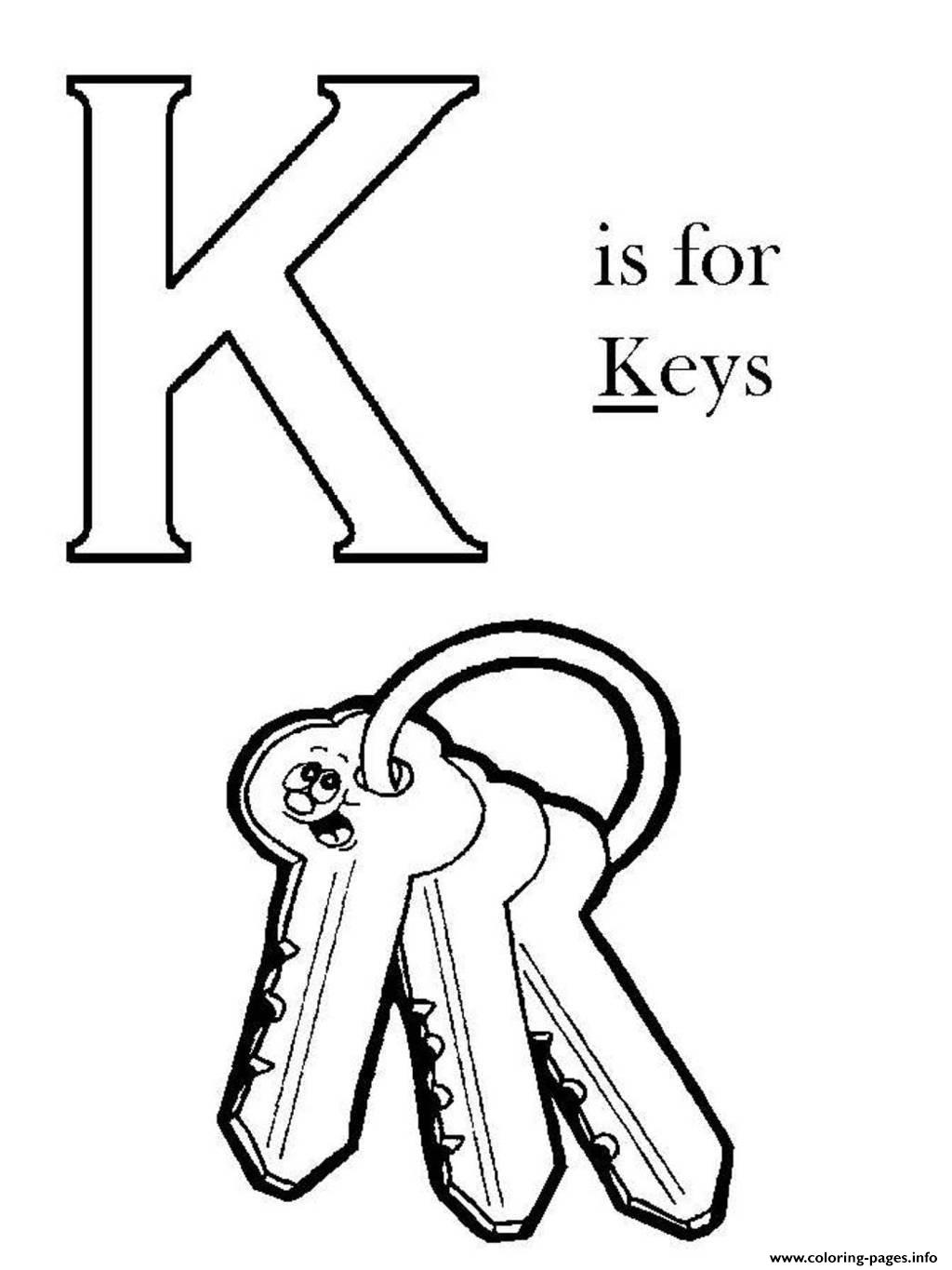 K Is For Key Alphabet S Free9b33 Coloring Pages Printable