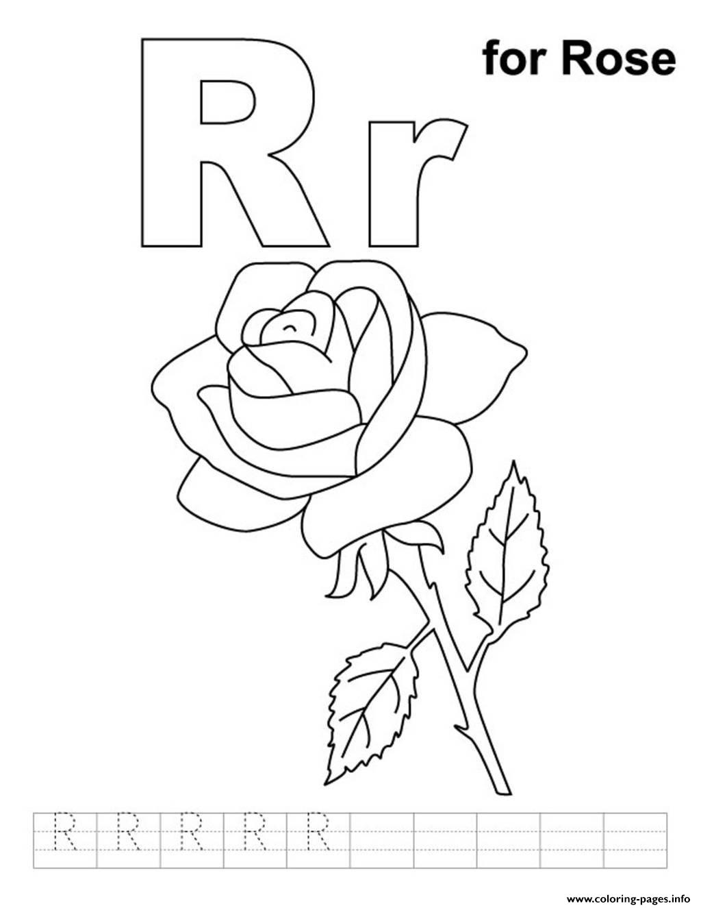 R For Rose Free Alphabet Sc31a Coloring Pages Printable