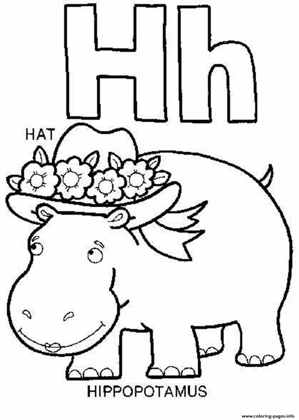 Hippotamus And Hat Alphabet Coloring Pages Printable