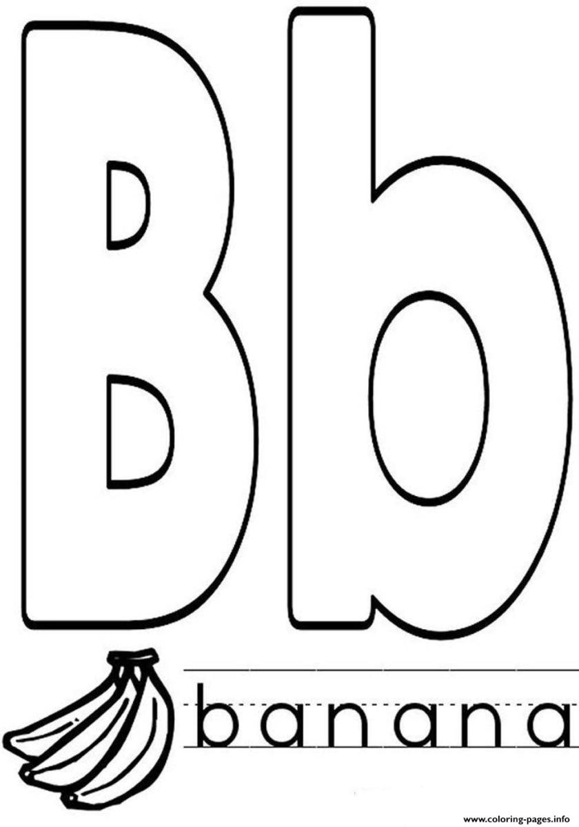 banana in b word alphabet s1d7c coloring pages printable