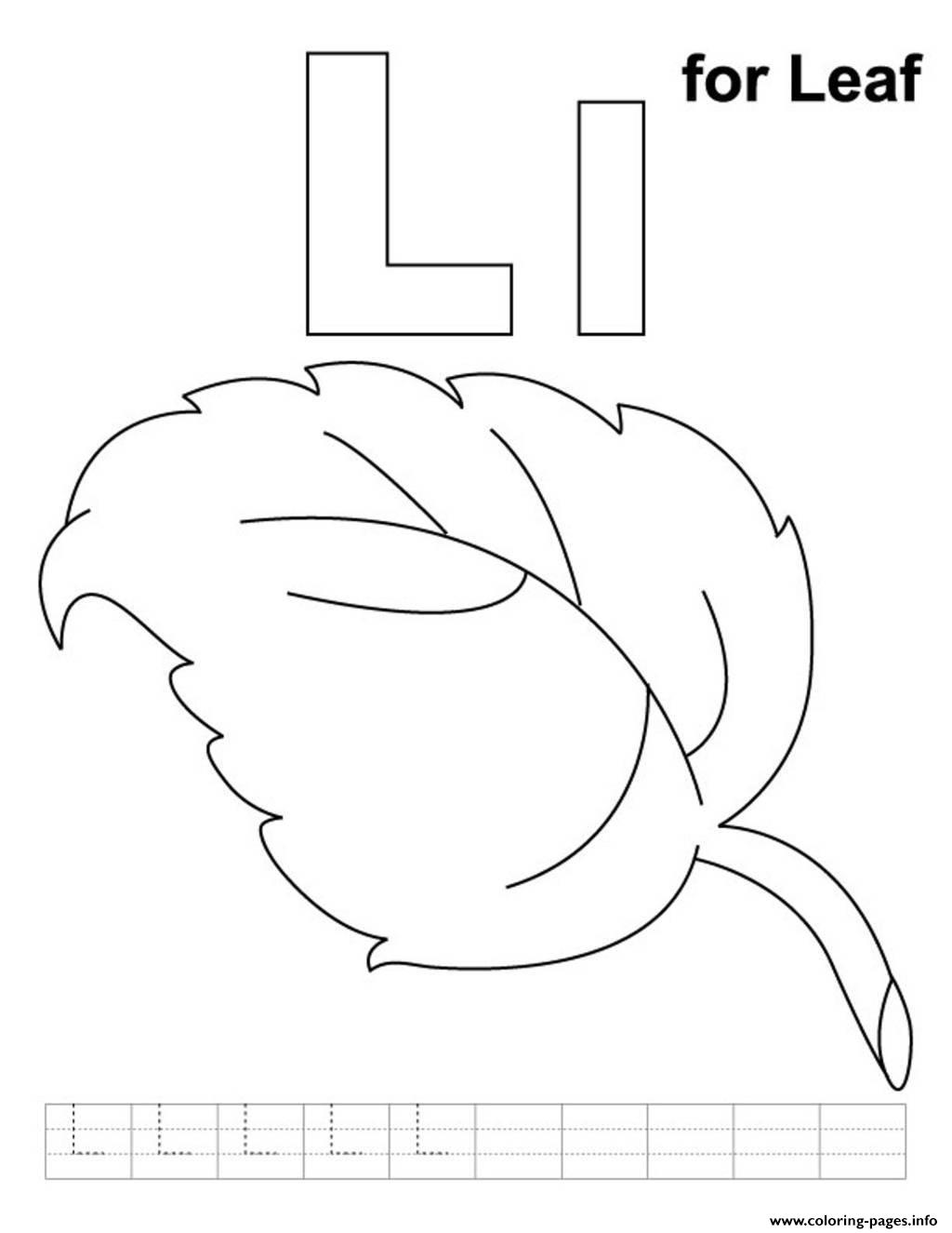 L Is For Leaf Alphabet S Freeb1ac Coloring Pages Printable