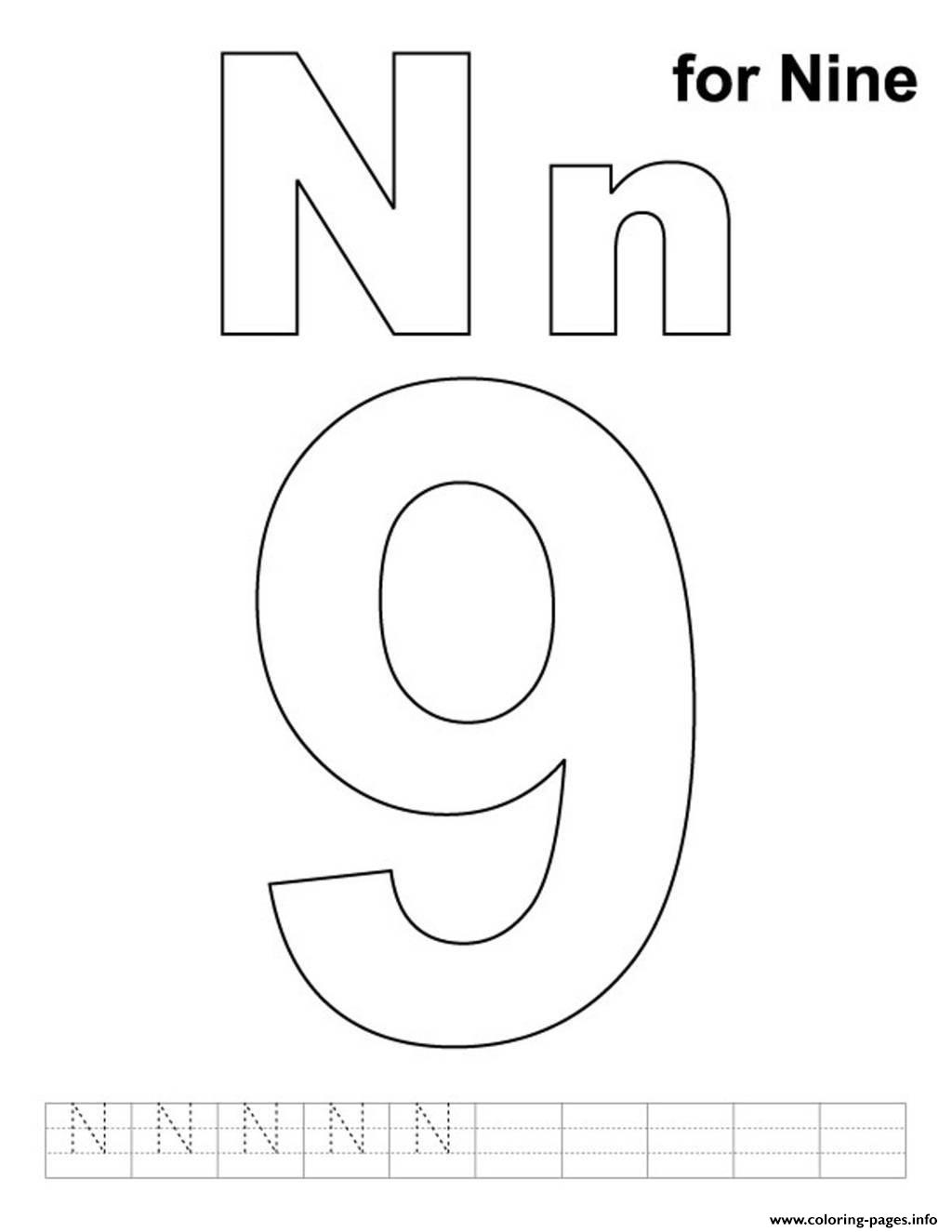 N For Nine Free Alphabet S109c Coloring Pages Printable