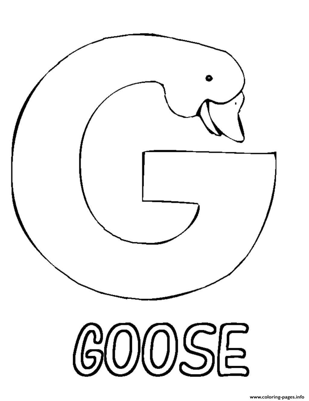 Preschool S Alphabet G For Goose Coloring Pages Printable