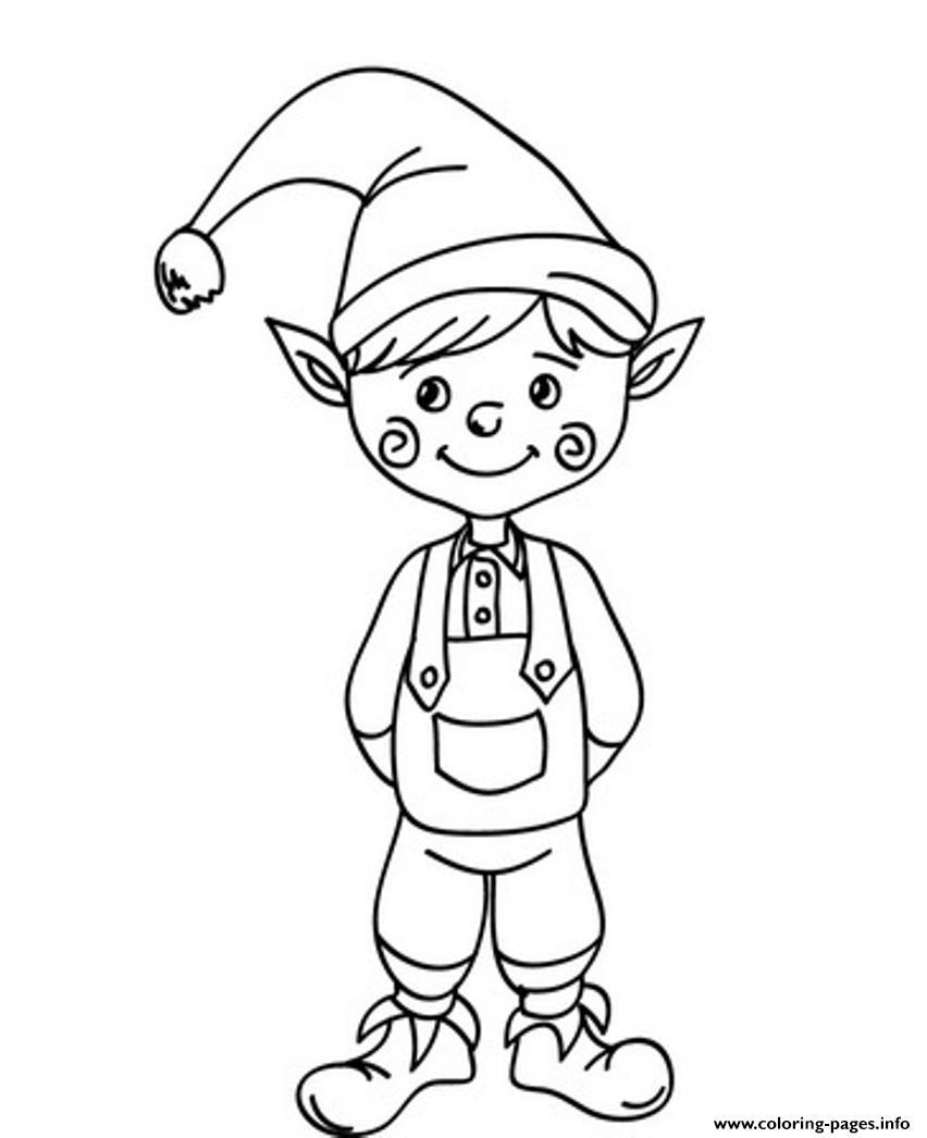 Cute Christmas Elf Saaf5 Coloring Pages Printable