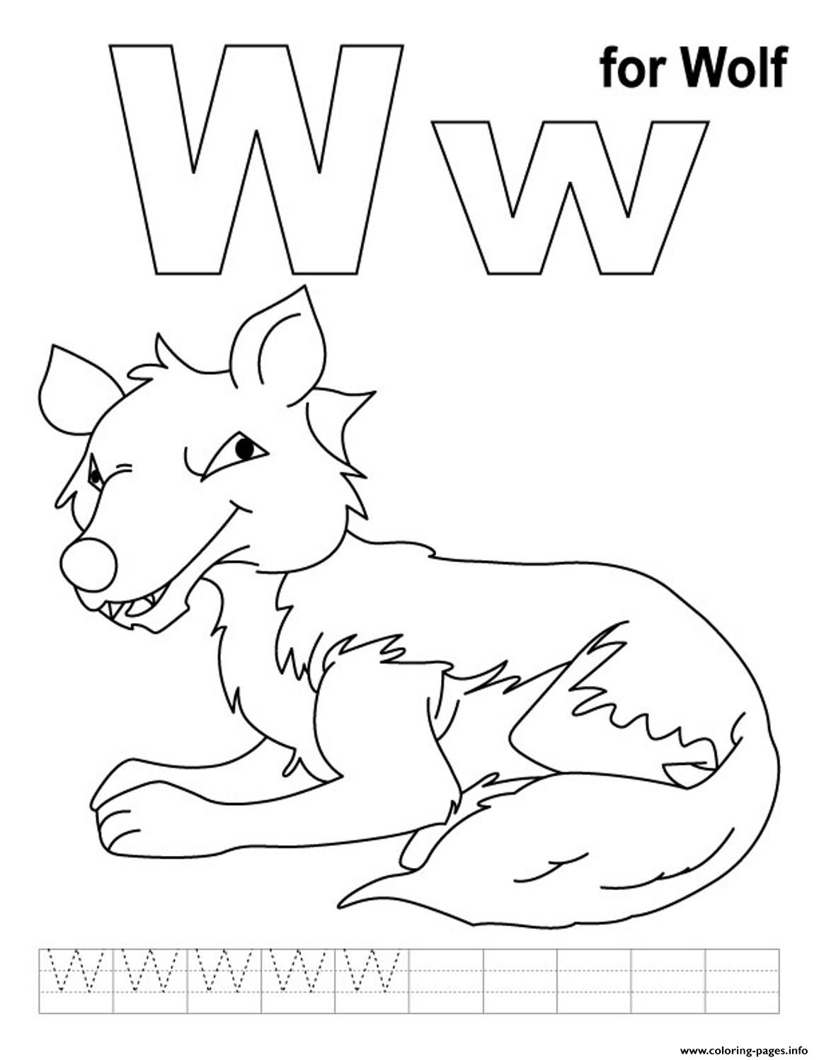 Wolf Free Alphabet Coloring Pages Printable