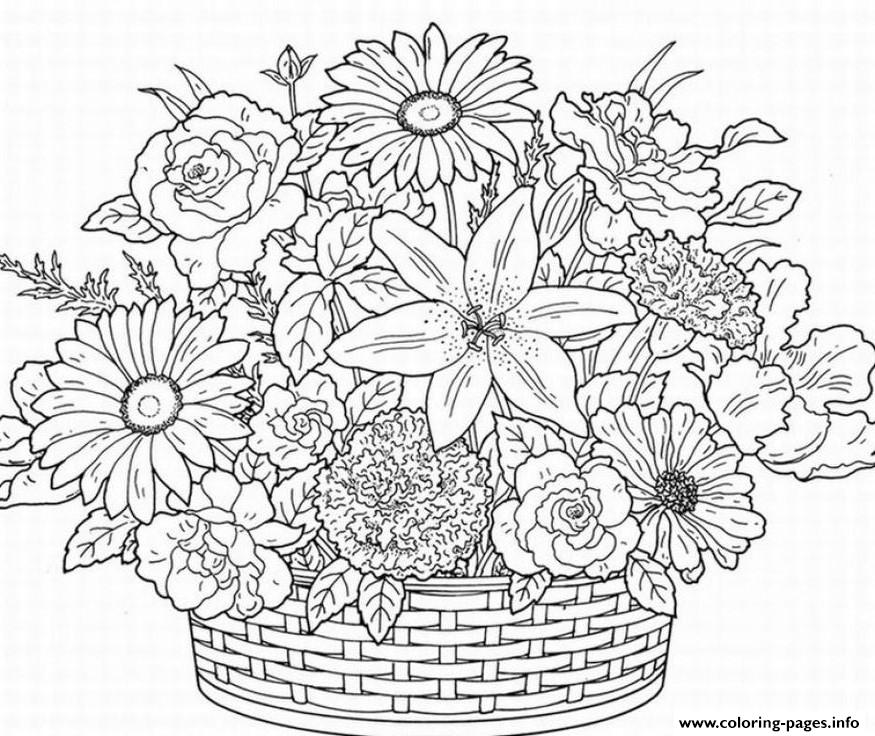 Cute Flower Adult Coloring Pages Printable | coloring pages for adults printable flowers