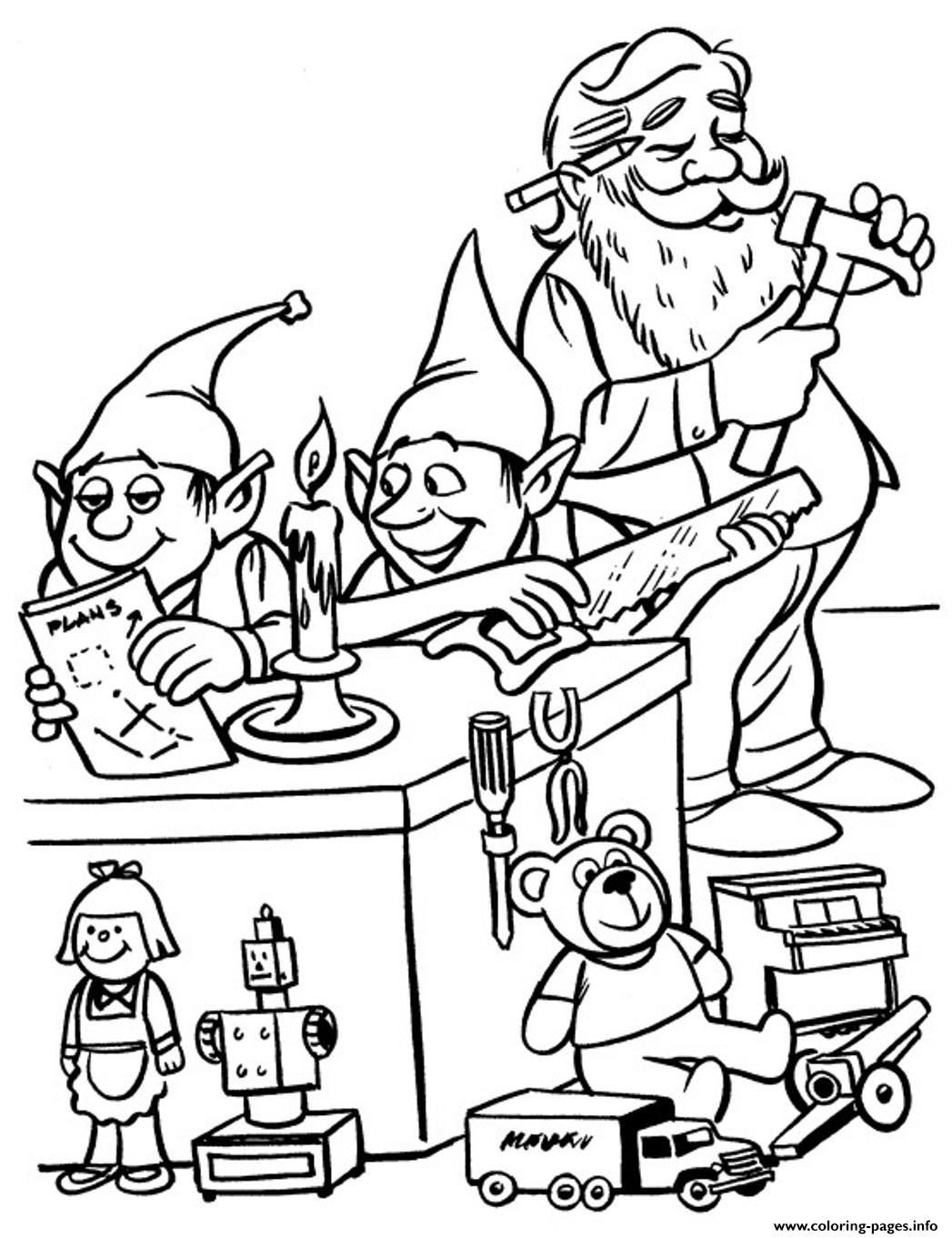 Elves And Santa Christmas S For Kids4a74 Coloring Pages