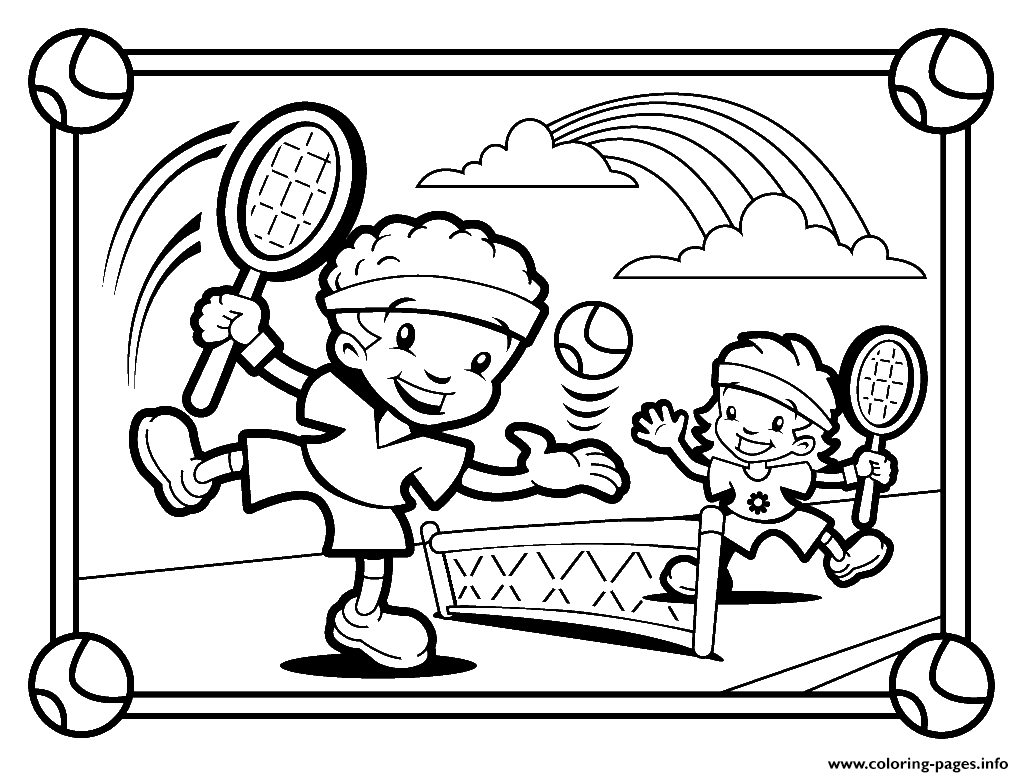 Kids Playing Tennis S02b3 Coloring Pages Printable