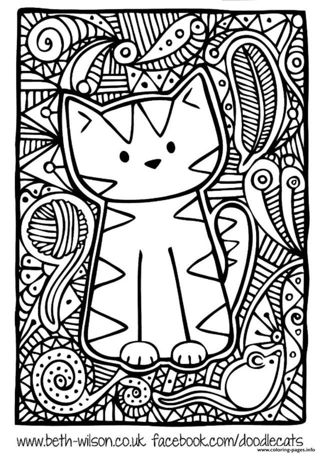 Adult Difficult Cute Cat Coloring Pages Printable