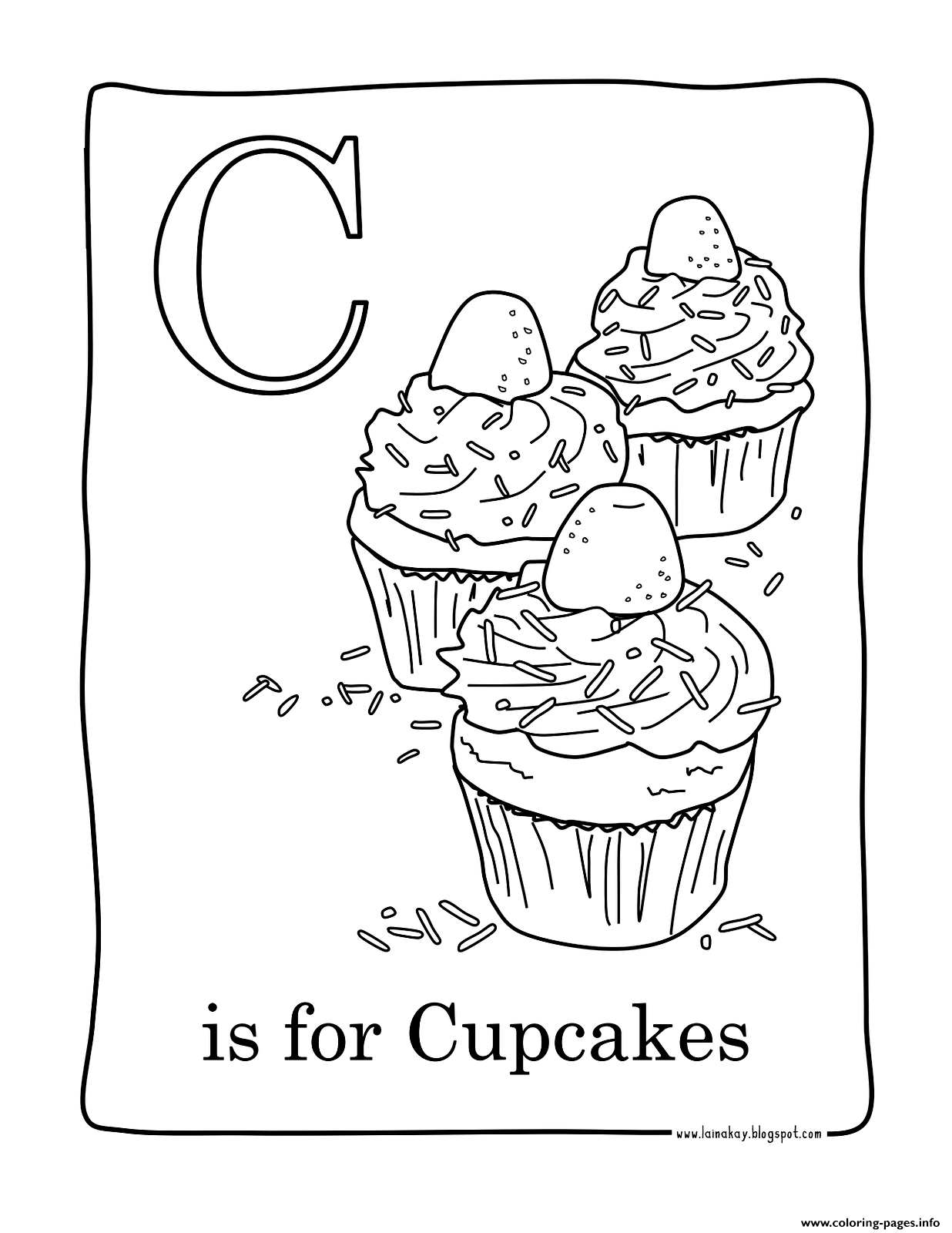 Facile Cupcakes Coloring Pages Printable
