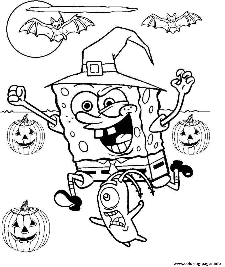 Spongebob Halloween Coloring Pages Printable
