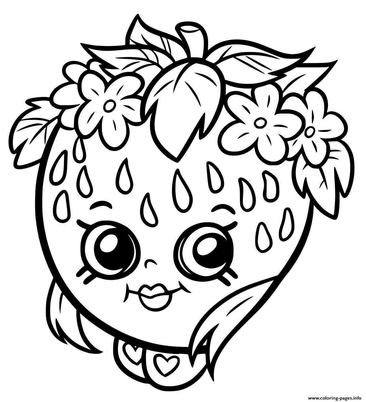 Shopkins Strawberry Smile Coloring Pages Printable