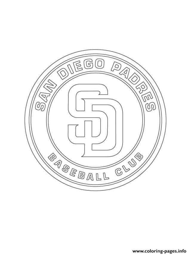 San Diego Padres Logo Mlb Baseball Sport Coloring Pages