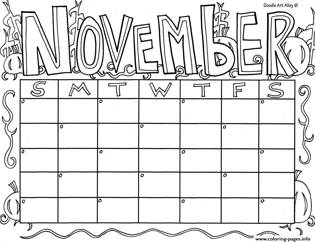 November Calendar Coloring Pages Printable