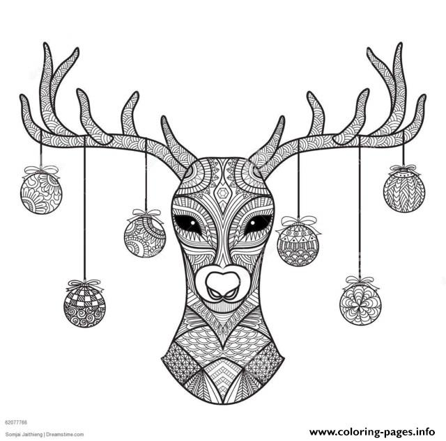 hand drawn deer head christmas coloring pages printable