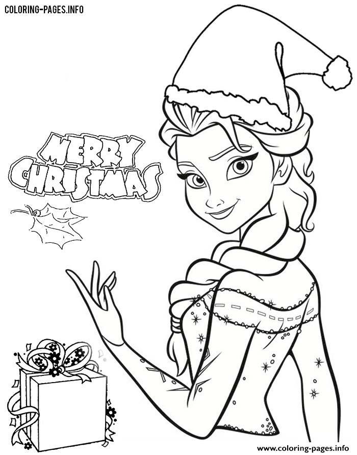 Frozen Elsa Disney Princess Christmas Coloring Pages Printable | free printable disney princess christmas coloring pages