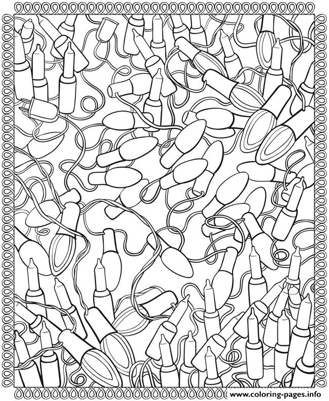 Christmas lights coloring pages print for Christmas light coloring pages