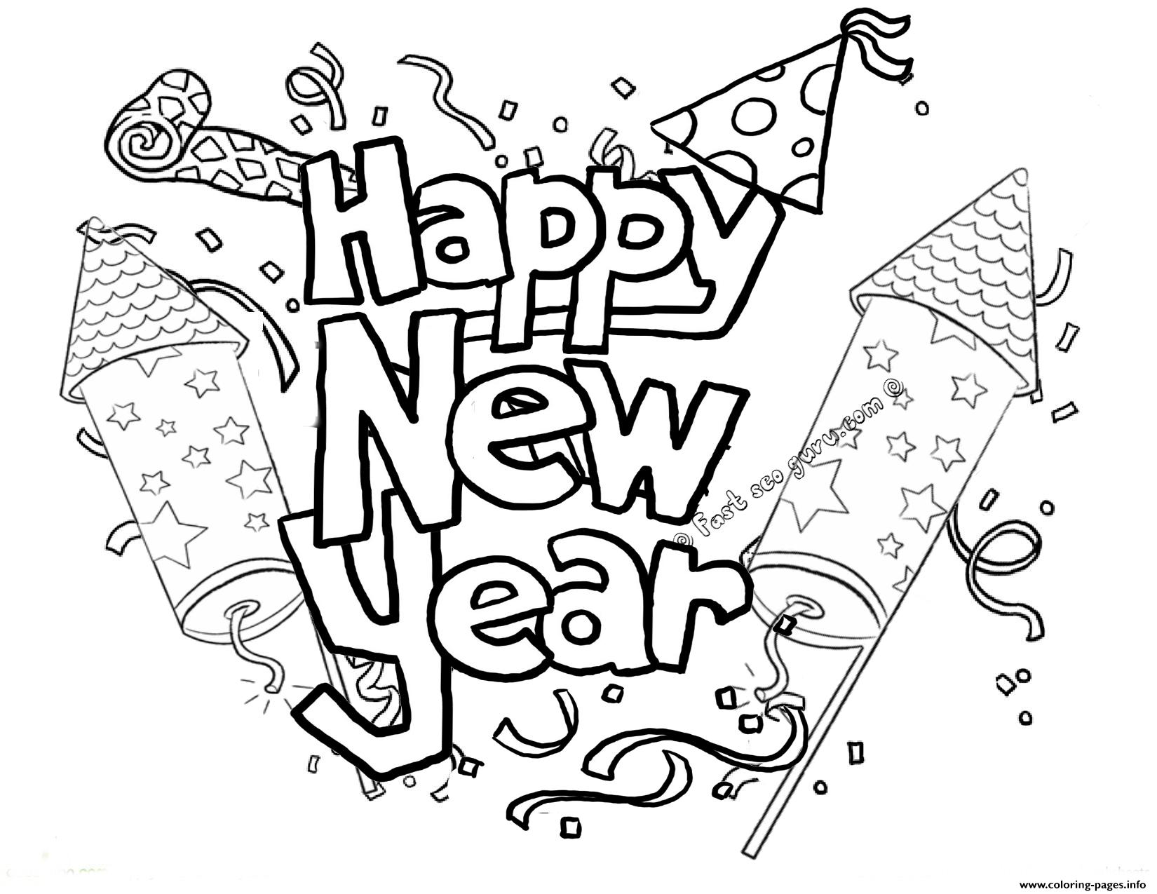 Happy New Year Printable 2 Coloring Pages Printable