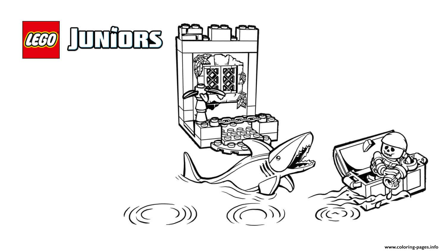 Lego Juniors Pirates Shark Coloring Pages Printable