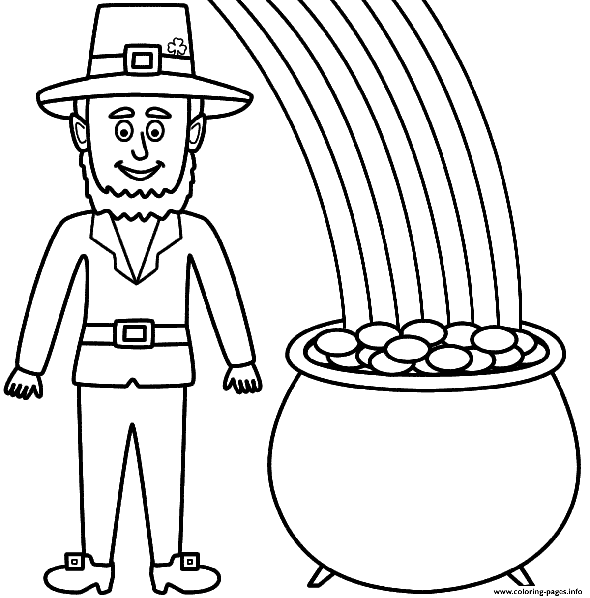 Leprechaun With A Pot Of Gold And Rainbow Coloring Pages