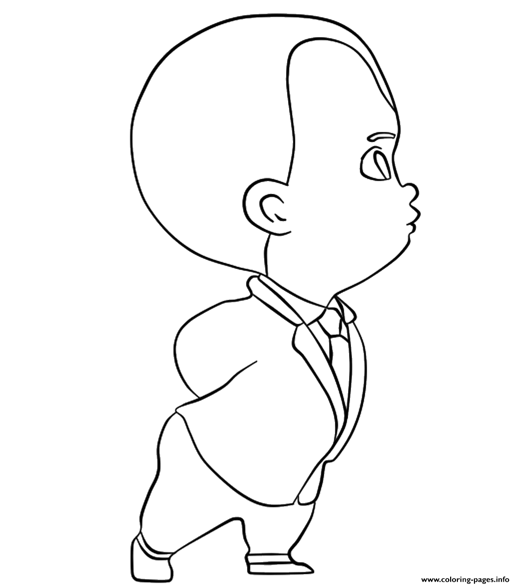 The Boss Baby In Deep Thought Coloring Pages Printable