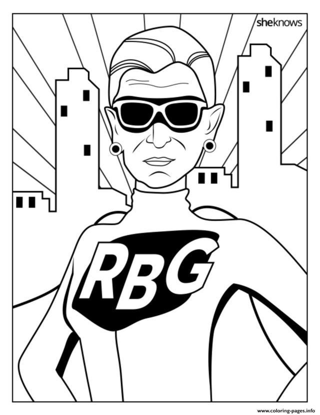 Ruth Bader Ginsburg RBG Coloring Pages Printable