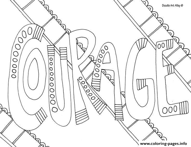 Word Courage Coloring Pages Printable | printable courage quotes coloring pages
