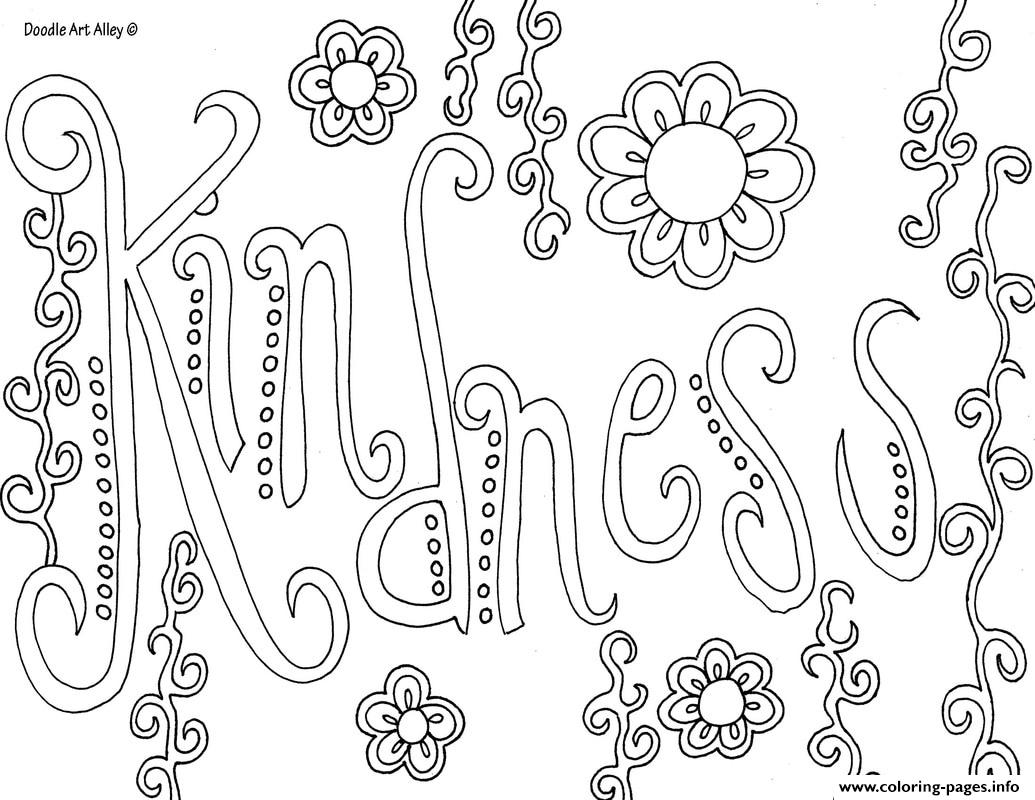 Word Kindness Coloring Pages Printable