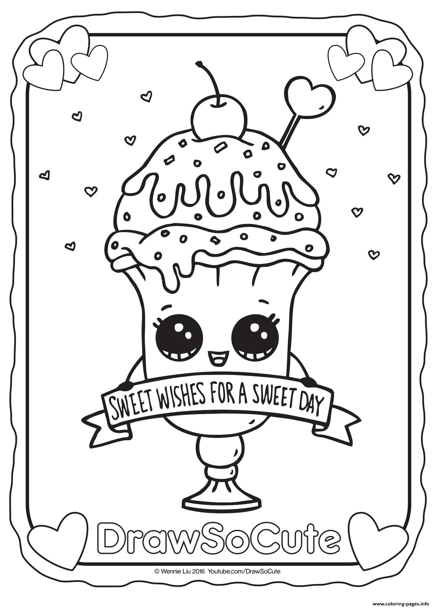 Valentine Ice Cream Sundae Draw So Cute Coloring Pages