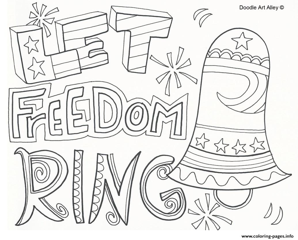 Let Freedom Ring 4th July Coloring Pages Printable