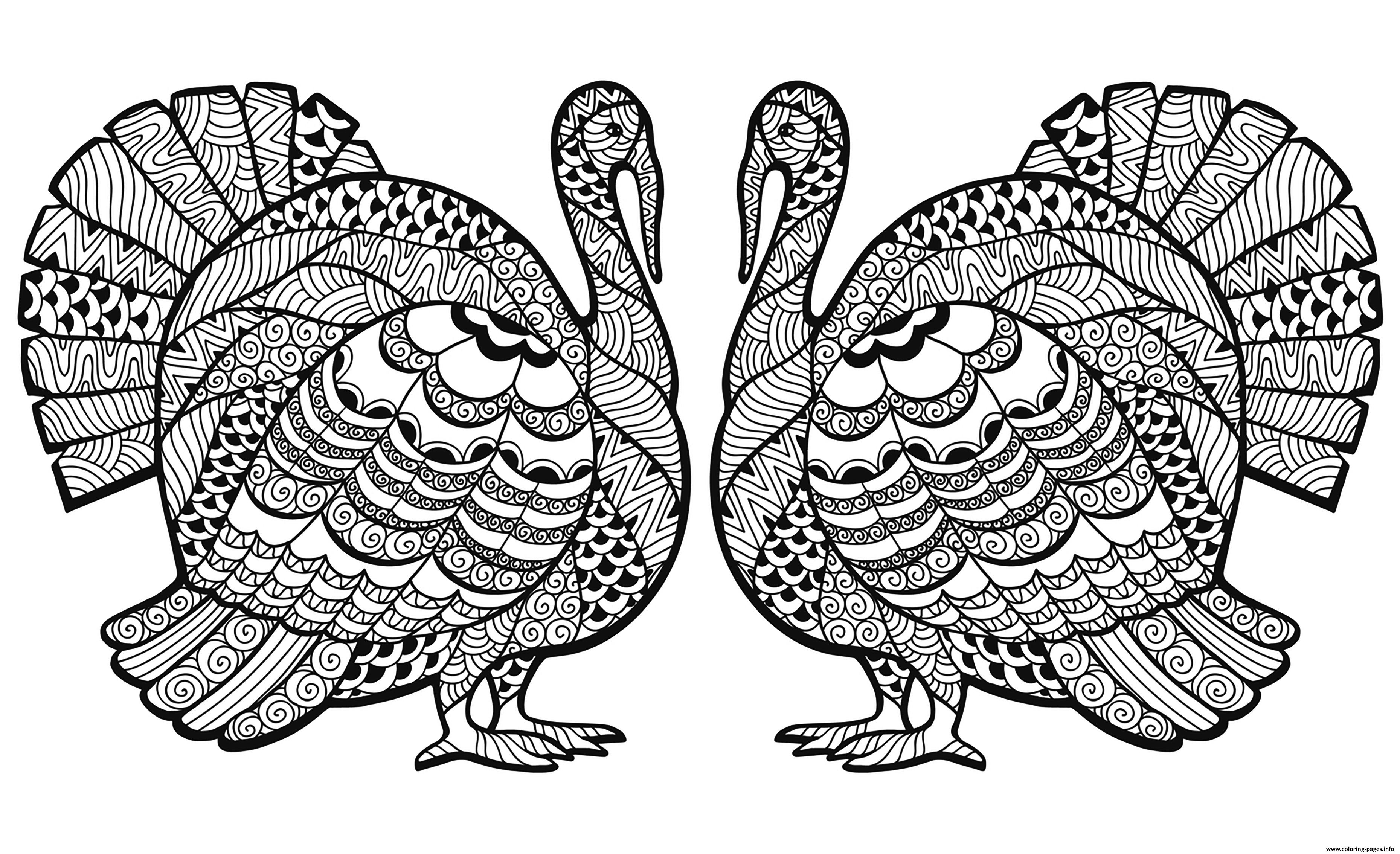 Thanksgiving Adults Difficult Coloring Pages Printable