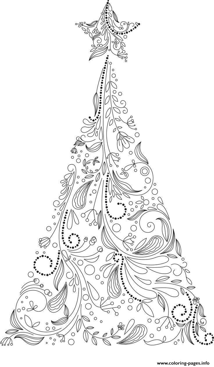 Christmas Adult Tree Coloring Pages Printable | christmas tree coloring pages for adults