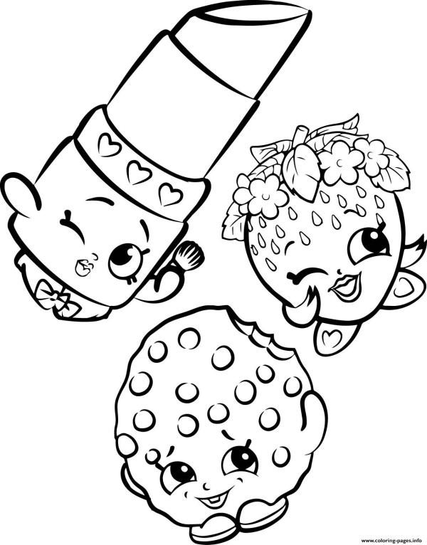 Free Shopkins Strawberry Lipstick Cookie Coloring Pages ...
