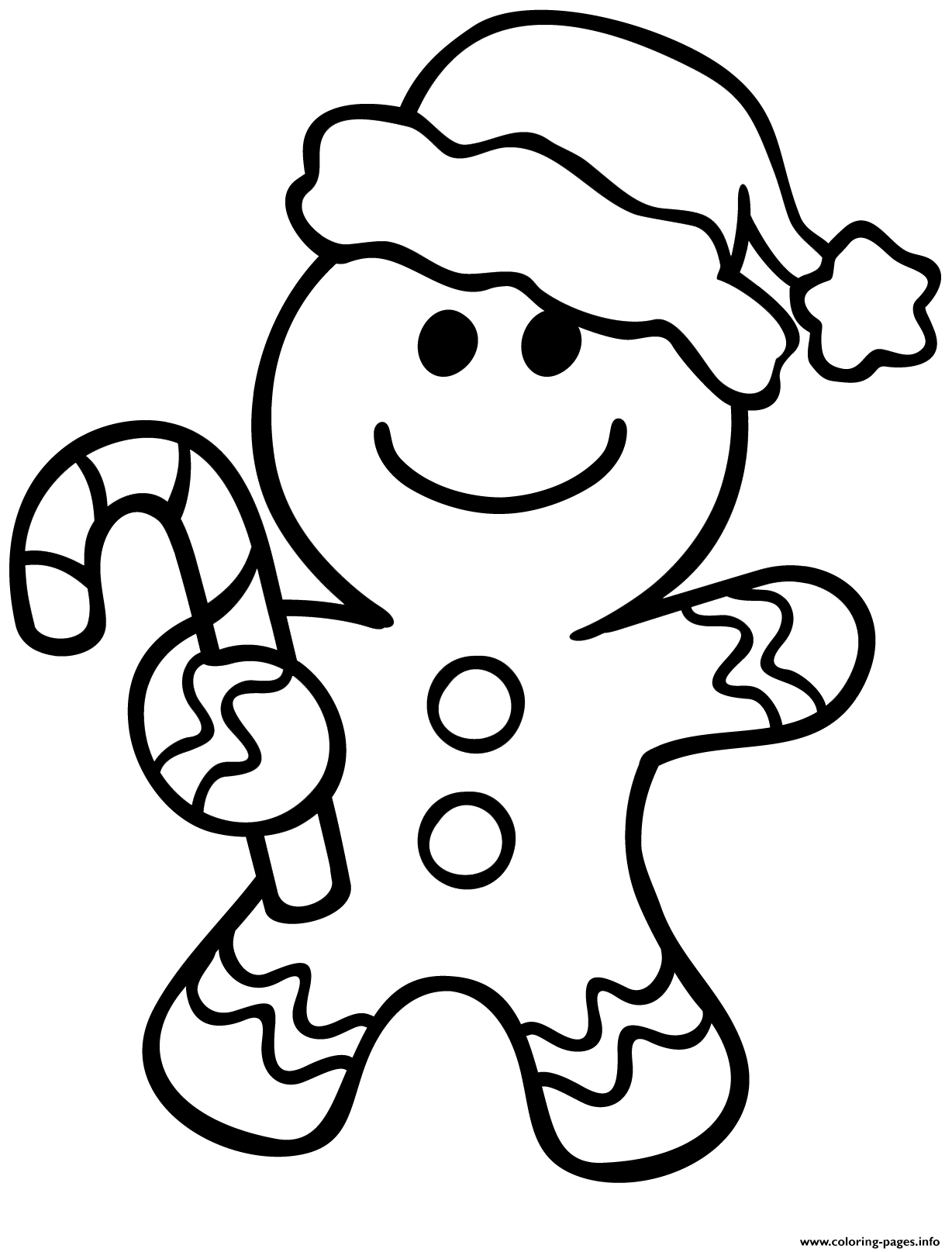 Gingerbread Man Christmas Coloring Pages Printable