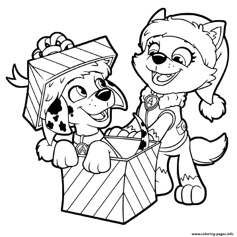 paw patrol christmas gifts coloring pages printable