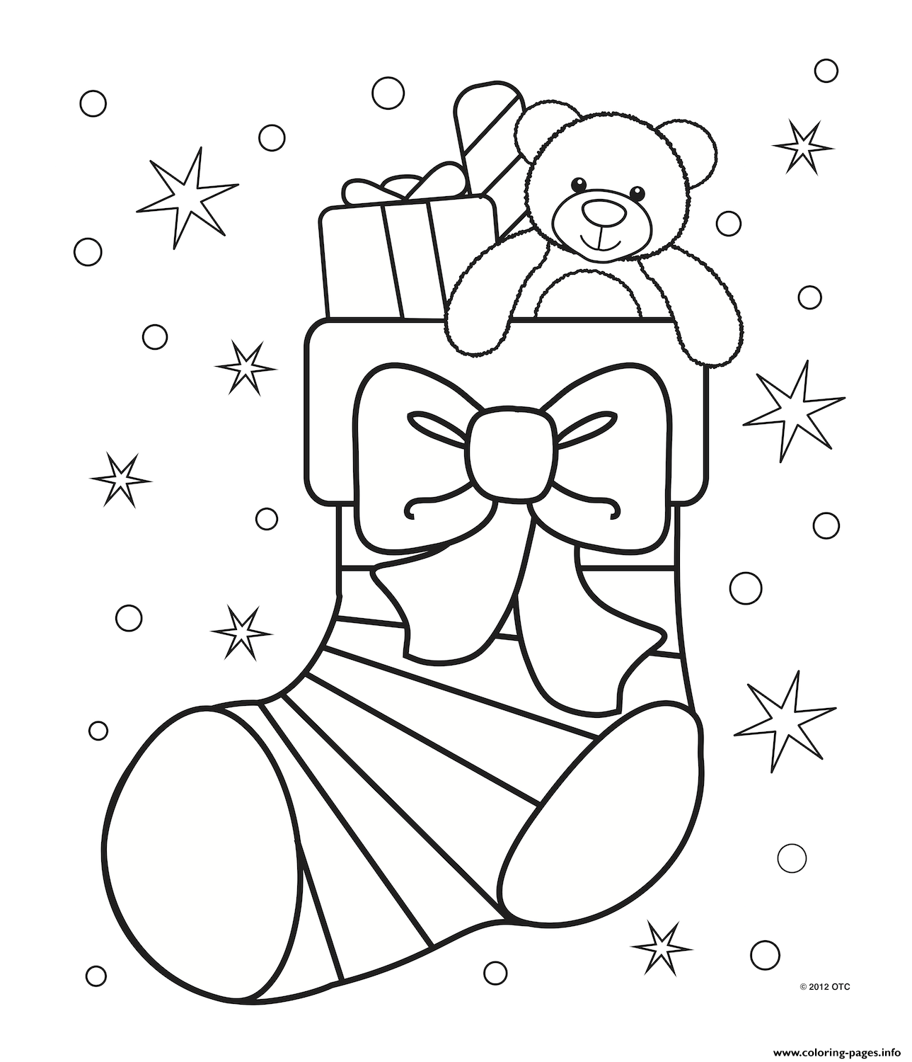 Xchristmas Stocking Cute Coloring Pages Printable