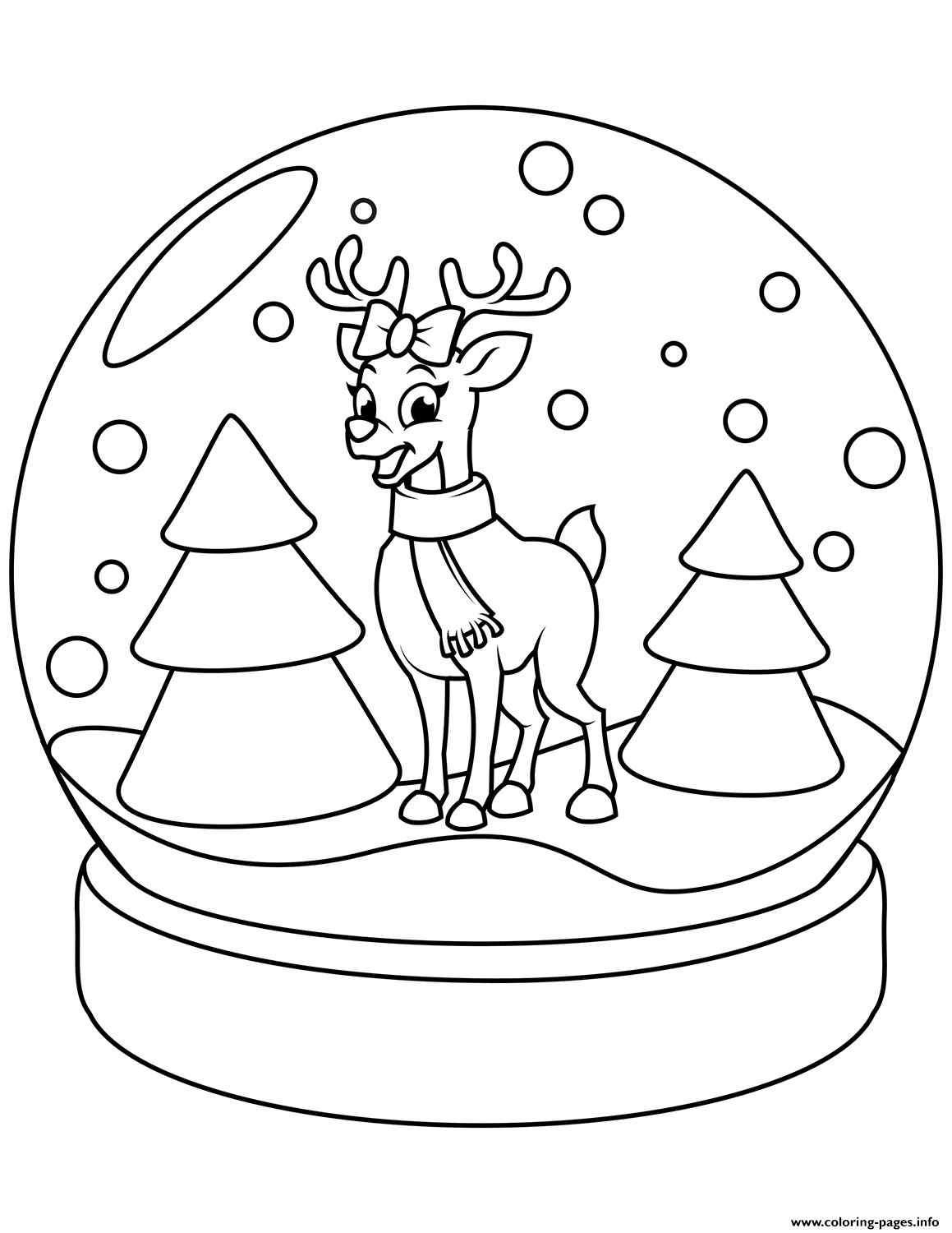 Christmas Snow Globe With Reindeer Coloring Pages Printable