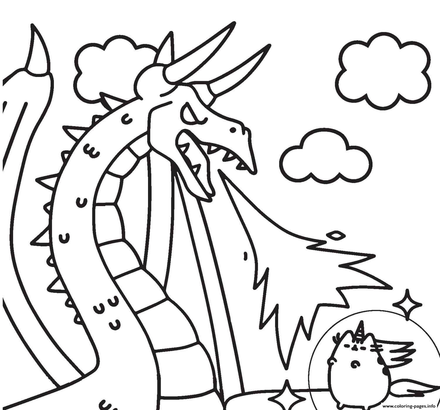 Pusheen Vs Dragon Coloring Pages Printable