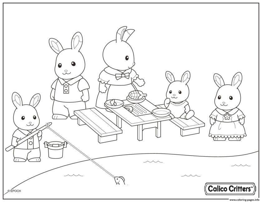 calico critters having fun picnic coloring pages printable